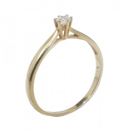 Gold ring K14 solitaire with white zircon for engagement or for marriage proposal 135115