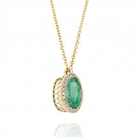 Gold rosette K18 necklace with white natural diamonds with drop design emerald in the center  ME1915
