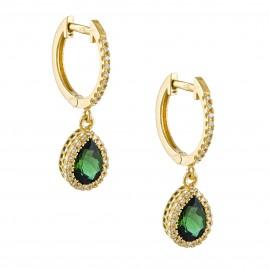Σκουλαρίκια χρυσά Κ18 ροζέτες με φυσικά λευκά διαμάντια και σμαράγδια σε σχήμα σταγόνας SK804