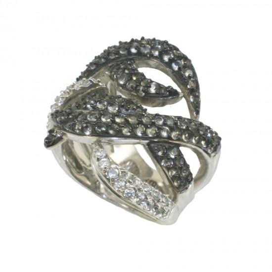 Δαχτυλίδι ασημένιο με μαύρη πλατίνα λευκά και μαύρα ζιργκόν Νο. 55