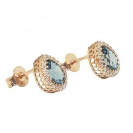 Σκουλαρίκια ροζ χρυσό Κ18 ροζέτες με φυσικά λευκά διαμάντια και London Blue Topaz σε σχήμα σταγόνας SK6813