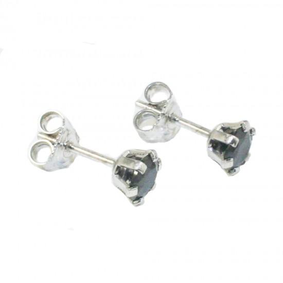 Σκουλαρίκια λευκόχρυσα Κ14 μονόπετρα με μαύρα ζιργκόν 1210B