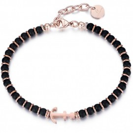 Handcuffs for men made of stainless steel with black agate and pink gold color anchor  BA1196