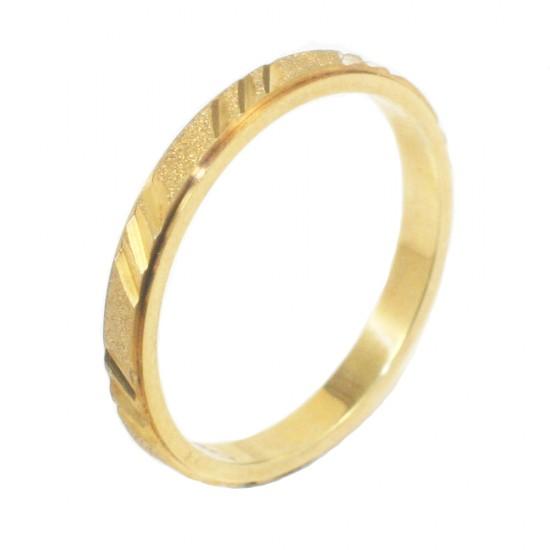 Βέρα χρυσή Κ14 με σχέδιο ματ και λουστραριστή 235235G