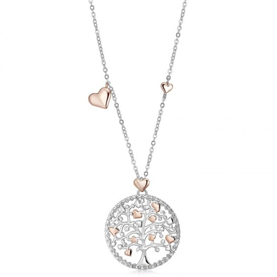 Necklace with the tree of life and hearts in rose gold color and white crystals  CK1177