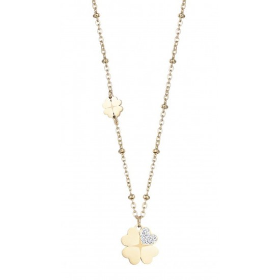 Necklace with the four-leaf clover of luck in gold color and white crystals CK1498