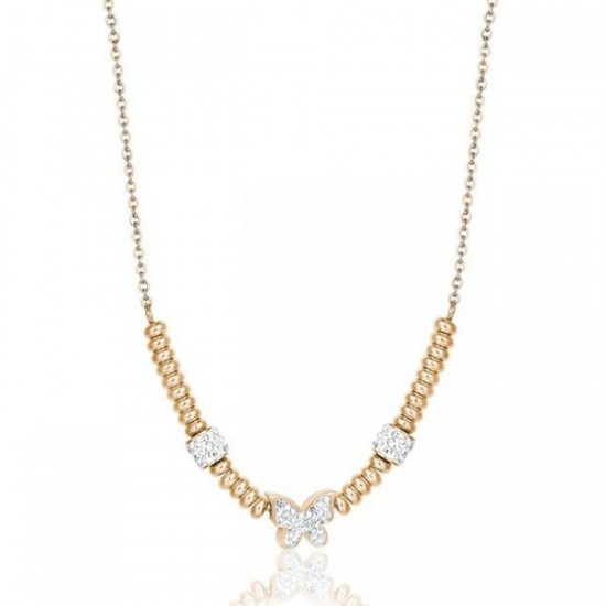 Necklace with butterfly in gold color and white crystals CK1493