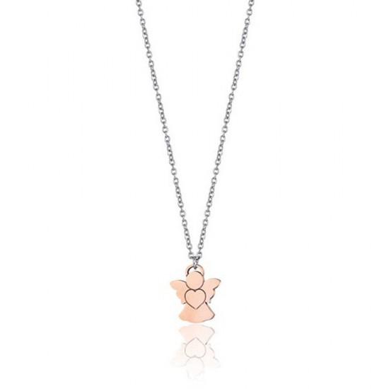 Κολιέ με τον άγγελο σε ροζ χρυσό χρώμα από ανοξείδωτο ατσάλι CK1473