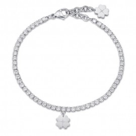 Tennis woman bracelet with the four-leaf clover of luck and white crystals  BK1975