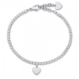 Tennis woman bracelet with heart and white crystal stainless steel  BK1968