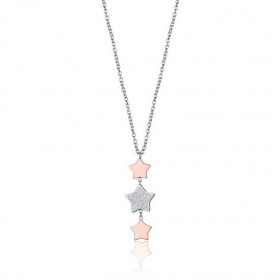 Necklace with stars in rose gold color and silver with white glitter made of stainless steel  CK1421