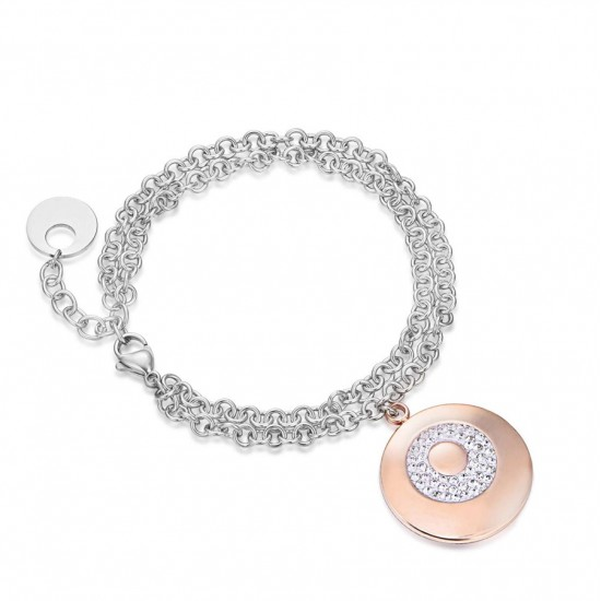 Bracelet with round pendant in rose gold color and white  BK1610