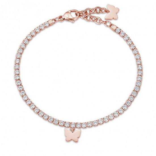 Bracelet with butterfly in rose gold color and white crystals  BK1971