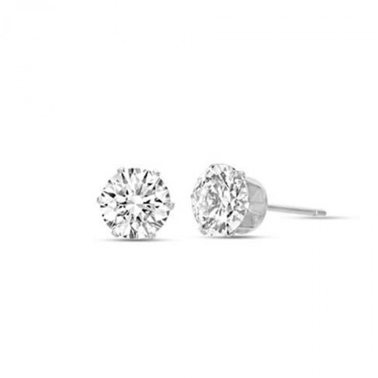 Solitaire earrings in silver color with white crystals made of stainless steel  OK918