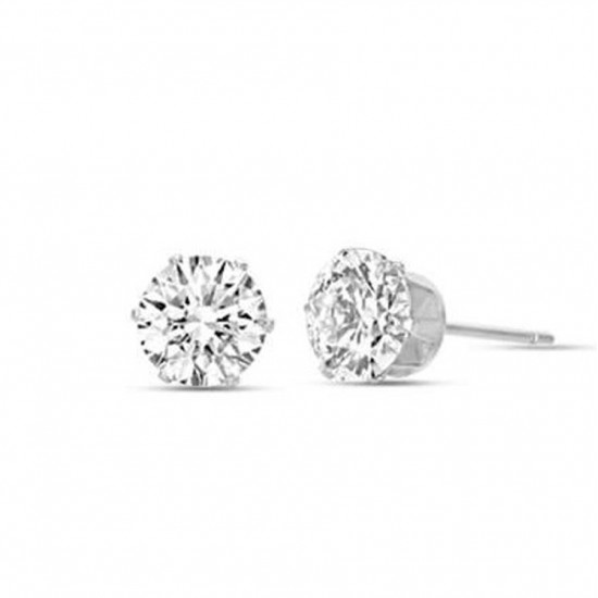 Solitaire earrings in silver color with white crystals made of stainless steel  OK919