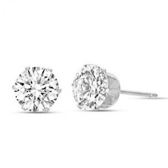 Solitaire earrings in silver color with white crystals made of stainless steel  OK920