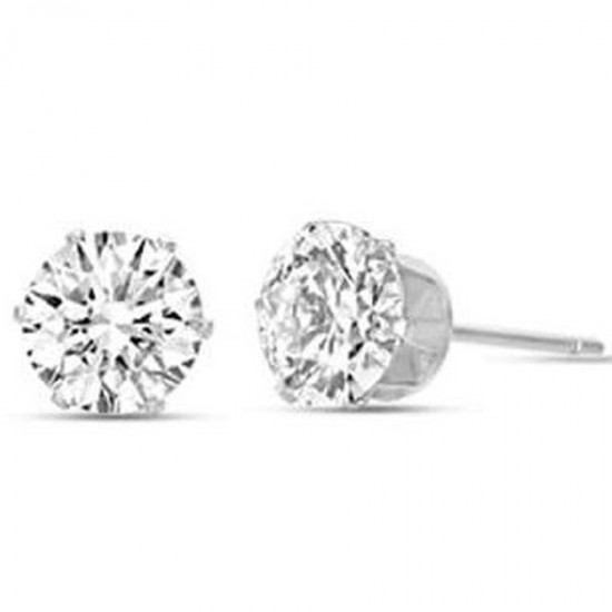 Solitaire earrings in silver color with white crystals made of stainless steel  OK921