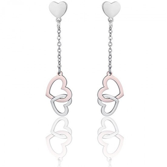 Σκουλαρίκια με καρδιές σε ασημί και ροζ χρυσό χρώμα OK1093