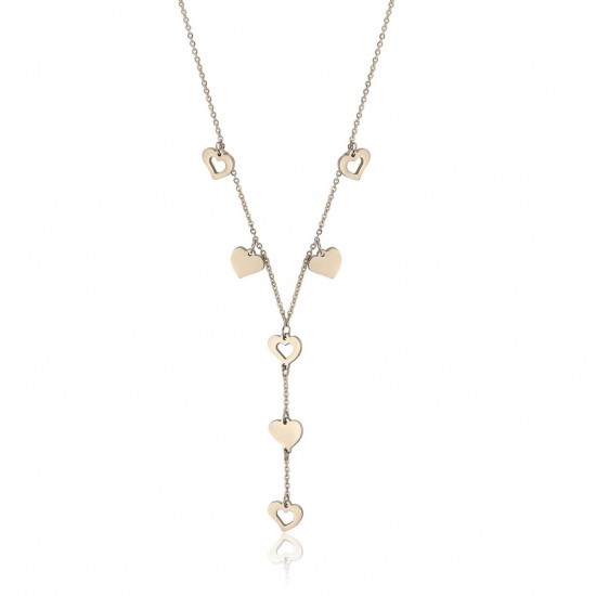 Necklace with hearts in gold color made of stainless steel  CK1513