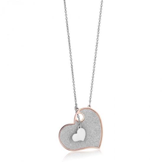 Κολιέ με καρδιά σε ροζ χρυσό χρώμα και λευκή λάμψη CK1269