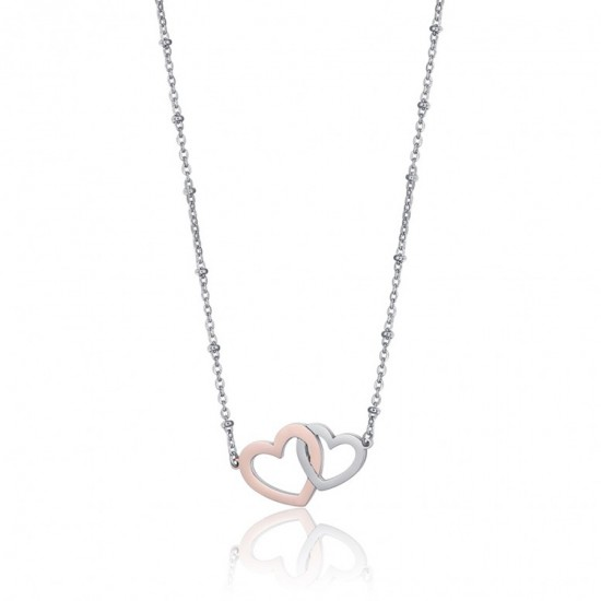 Necklace with hearts in silver and pink gold color made of stainless steel  CK1525