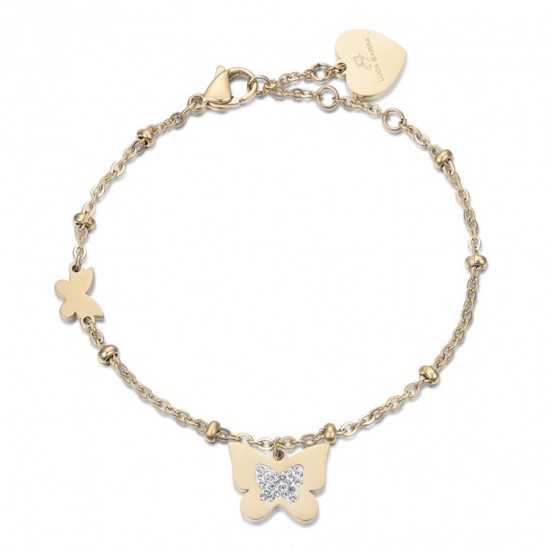 Bracelet with butterflies in gold color and white crystals made of stainless steel  BK1989