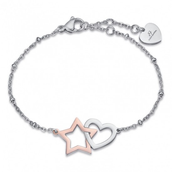Bracelet with star in silver color and heart in rose gold color  BK2022