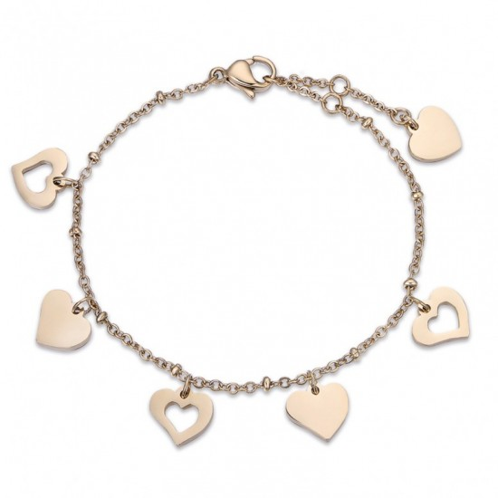 Bracelet with hanging hearts in gold color made of stainless steel  BK2006