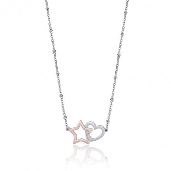 Κολιέ με καρδιά σε ασημί και αστέρι σε ροζ χρυσό χρώμα CK1526
