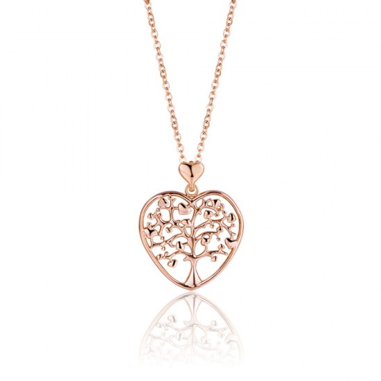 Necklace with heart and the tree of life in rose gold color  CK1265