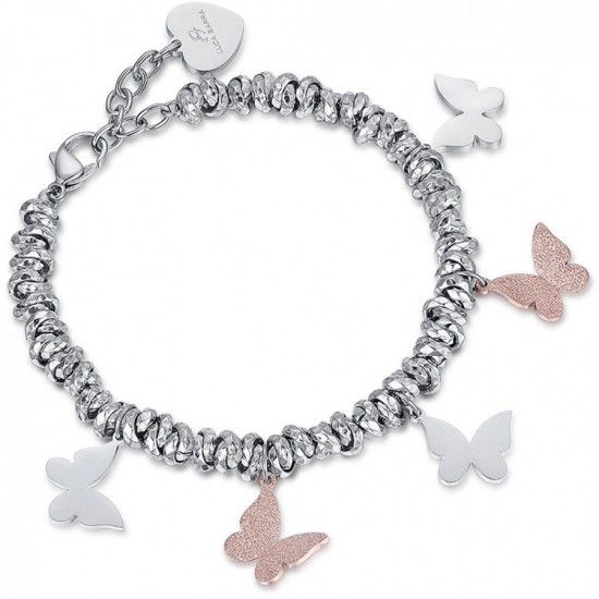 Bracelet with hanging butterflies in silver and rose gold color  BK1887