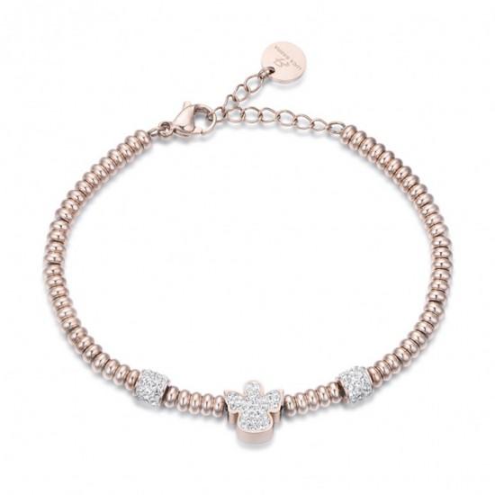Angel bracelet in rose gold color with white crystals   BK1993
