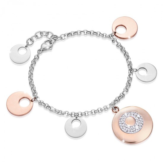 Bracelet with pendant in silver and rose gold color with white crystals  BK1608