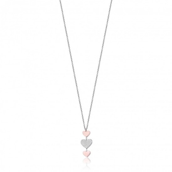 Necklace with hearts in silver and pink gold color  CK1423