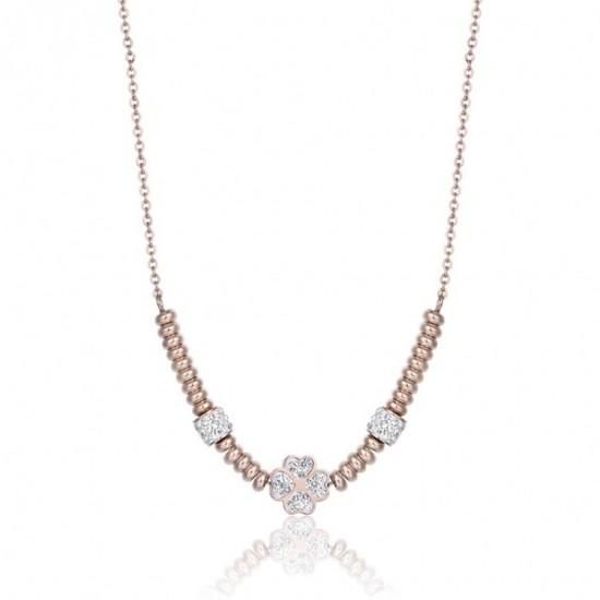 Κολιέ με το τετράφυλλο τριφύλλι της τύχης σε ροζ χρυσό χρώμα με λευκούς κρυστάλλους CK1491