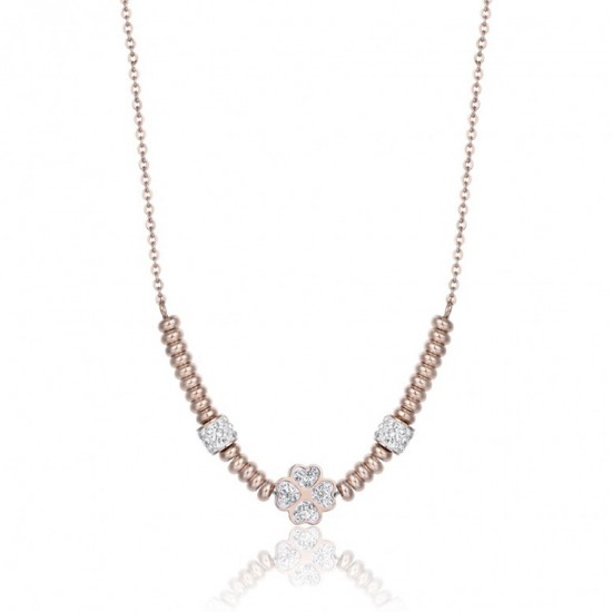 Necklace with the four-leaf clover of luck in pink gold color with white crystals made of stainless steel CK1491