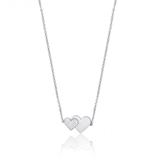 Necklace with hearts in silver color and white crystals made of stainless steel  CK1522