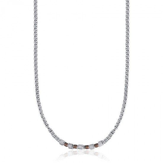 Necklace for men for neck in silver color and brown elements made of stainless steel  CL227