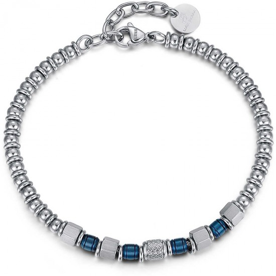 Handcuffs for men in silver color with blue colored elements made of stainless steel  BA1122