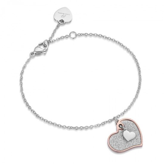 Bracelet with hearts in rose gold color and white crystals made of stainless steel  BK1633