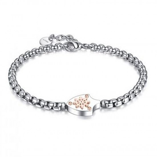 Handcuffs for men in silver color design with steering wheel in rose gold color  BA1059