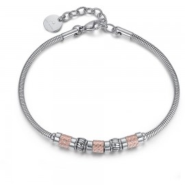 Handcuffs for men in silver color and elements in rose gold color made of stainless steel BA1150
