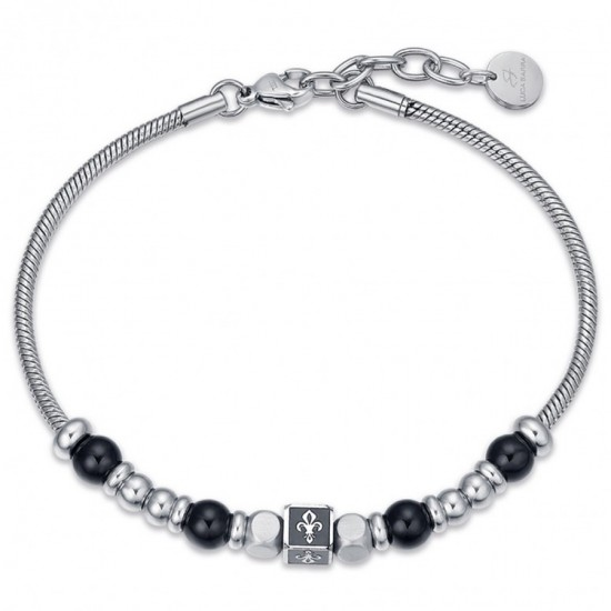 Handcuffs for men in silver color and stones in black made of stainless steel  BA1244