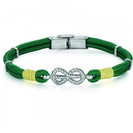 Handcuffs for men with green and yellow silk cord and stainless steel element in silver color  BA1007