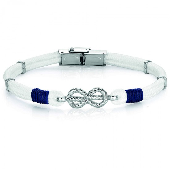 Handcuffs for men with white and blue silk cord and stainless steel element  BA1009