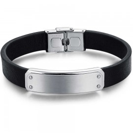 Men's stainless steel handcuffs in silver color and leather strap BA1131