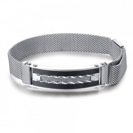 Men's stainless steel handcuffs in silver color with Milano bracelet BA1236