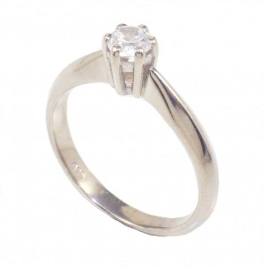 Δαχτυλίδι ασημένιο μονόπετρο με λευκό ζιργκόν 235138