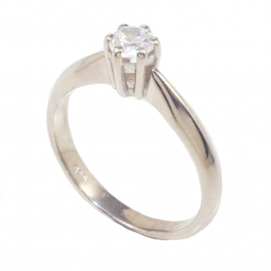 Sterling silver solitaire ring with white zircon for engagement or for wedding  235138
