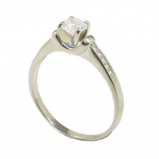 Sterling silver solitaire ring with white zircons on the leg  185155